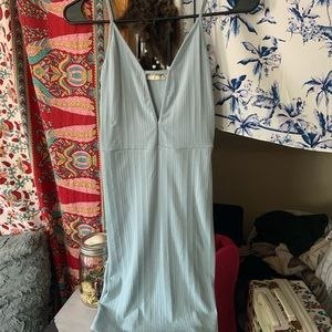 Casual ribbed low neck dress in light blue